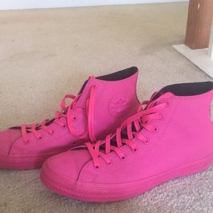 All pink leather Converse All Star Chuck Taylors